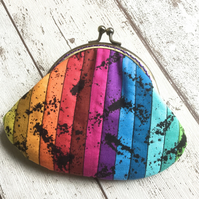 Rainbow Striped Fabric Clasp Coin Purse