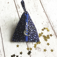Moon & Star Themed Fabric Pyramid Purse