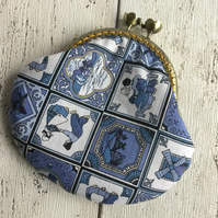Dutch Tile Themed Fabric Clasp Coin Purse