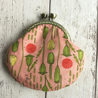 Poppy Pod Themed Fabric Coin Clasp Purse