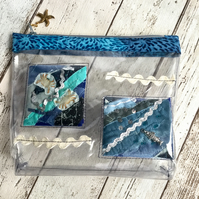 Clear Vinyl Seaside Themed Zipped Pouch
