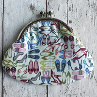 Shoe Themed Fabric Coin Clasp Purse