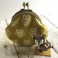 Owl Themed Fabric Clasp Coin Purse