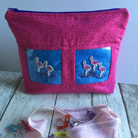 Pink & Blue Fabric & Clear Vinyl Flamingo Themed Zipped Pouch