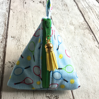 Tennis Themed Fabric Pyramid Purse