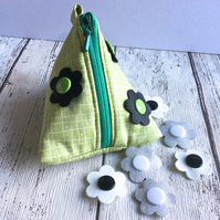 Interchangeable Flower Fabric Pyramid Purse