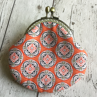 Orange Geometric Pattened Fabric Clasp Coin Purse