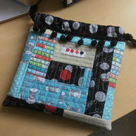 Crazy Quilted Patchwork Fabric Draw String Bag