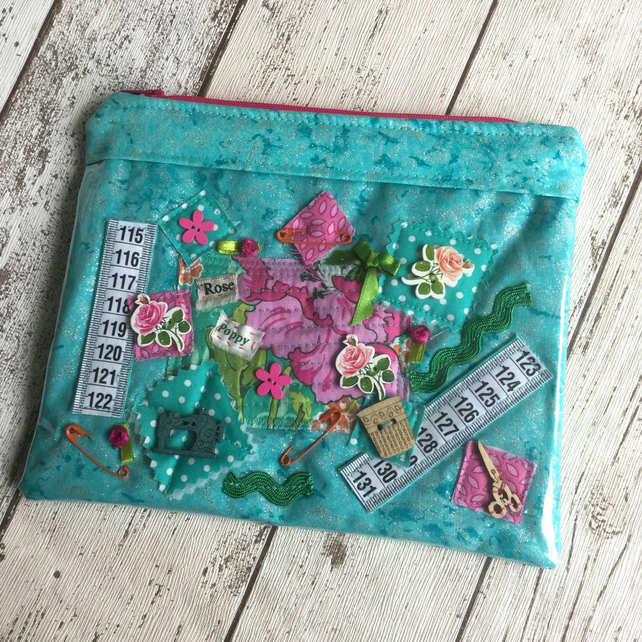 Sewing Collage Themed Vinyl Fronted Zipped Pouch
