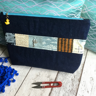 Denim Weather Themed Patchwork Fabric Zipped Pouch