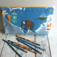 Travel Themed Fabric Zipped Pouch