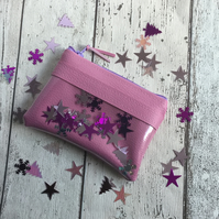 Pink Faux Leather Coin Purse with Confetti & Clear Vinyl Design