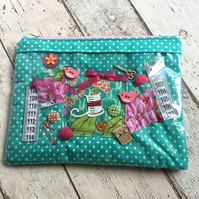 Vinyl Fronted Sewing Themed  Zipped Pouch