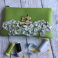 Sewing Themed Apple Green Faux Leather Zipped Pouch