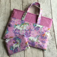 Pink Unicorn Themed Bag and Matching Zipped Coin Purse Set