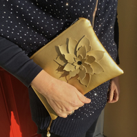 Gold Faux Leather Clutch Bag with Flower Embellishment