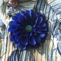 Hand Made Royal Blue Fabric Flower Corsage