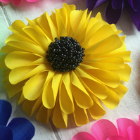 Hand Made Yellow Fabric Flower Corsage