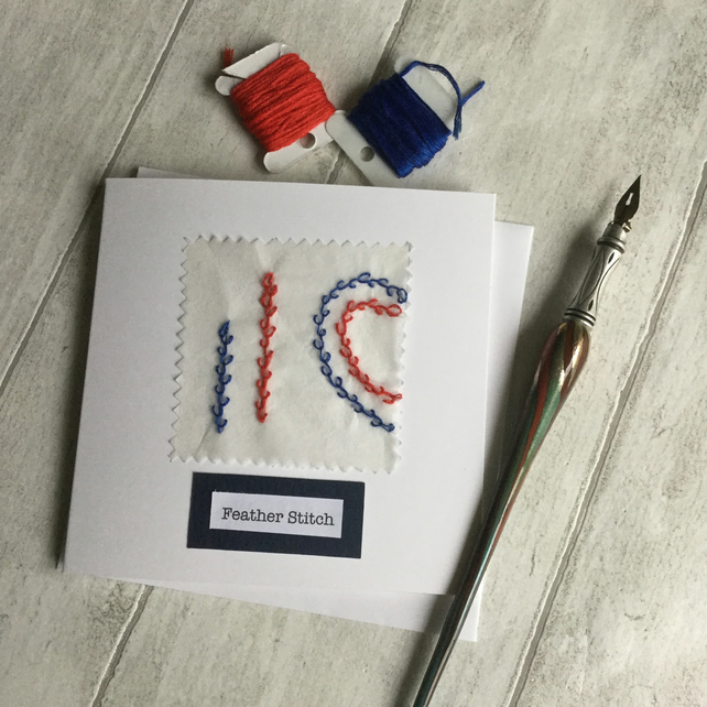 Hand Embroidered Sewing Themed Greeting Card