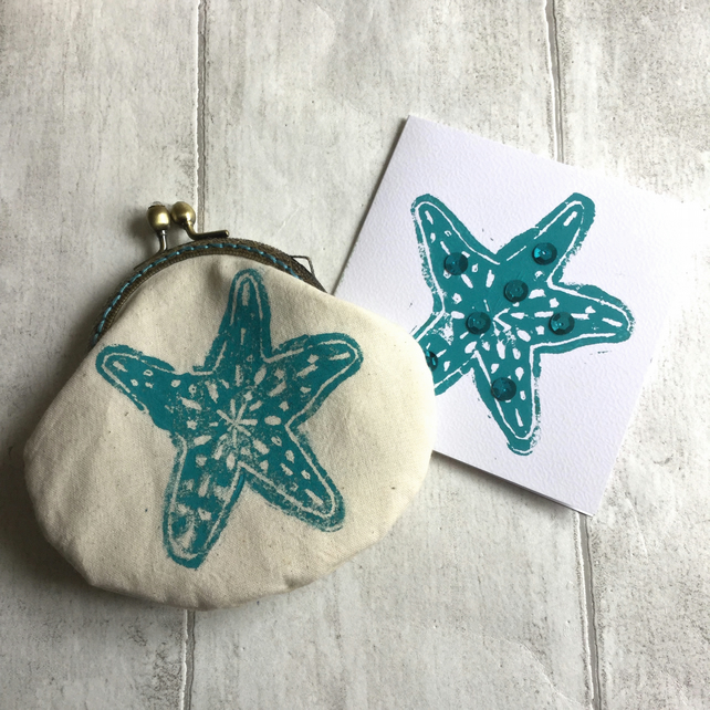 Calico Lino Print Starfish Clasp Coin Purse & Matching Blank Card