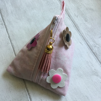 Pink Fabric Pyramid Purse with Interchangeable Flower Embellishment