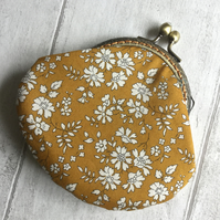 Mustard & White Floral Liberty Fabric Clasp Coin Purse