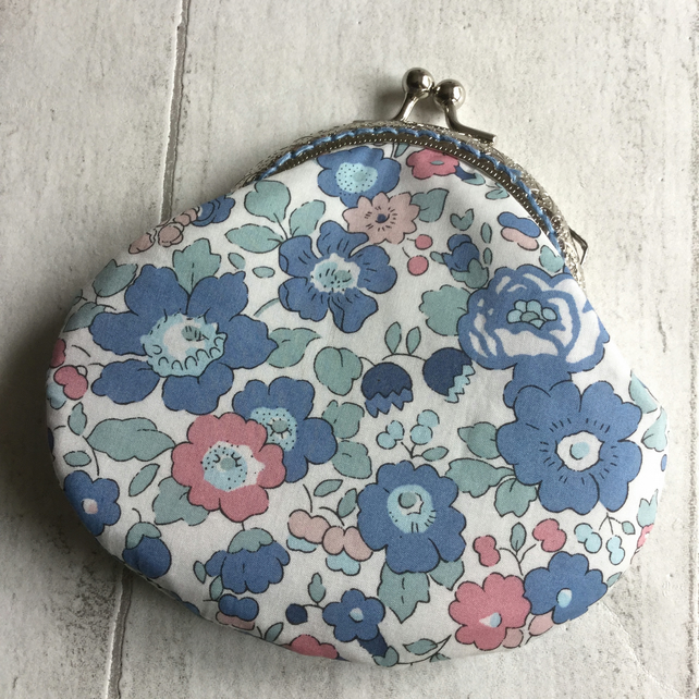Blue & Pink Floral Liberty Print Clasp Coin Purse