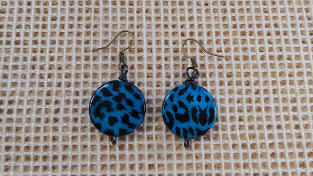 Funky blue painted shell earrings