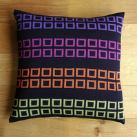 Squares knitted cushion  Dark navy.