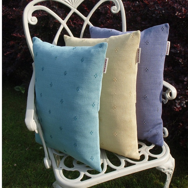 Cluster beaded knitted cushion  Lagoon blue