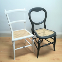 Antique chair in white chalk paint, re-caned seat