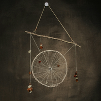 Brown and White Spider Web Hanging Sculpture