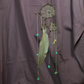 Hanging Spider Web Sculpture with Feather and Gemstone Charms