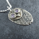 Wise owl silver pendant with sterling silver chain