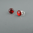 Berry red ear studs