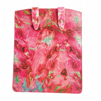 'Pink Marble' Printed Leather iPad Case