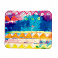'Aquarelle Rainbow' Printed Leather Mouse Mat