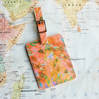 Peach Marble 'Hamisi' Printed Leather Luggage Tag