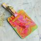 Yellow Summer Solstice 'Hamisi' Printed Leather Luggage Tag