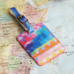 Aquarelle Rainbow 'Hamisi' Printed Leather Luggage Tag