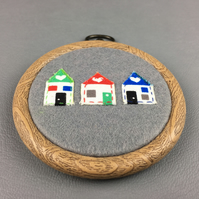 Wood Effect Embroidery Hoop, Grey Felt background with 3 Houses stitched