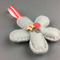 Grey Felt Flower Decoration Hand Stitched with 3 Buttons and a Ribbon Loop