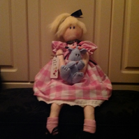 Annie rag doll with bunny