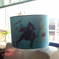 Hand painted teal drum lampshade