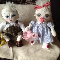 little cotton twin dolls with painted eyes