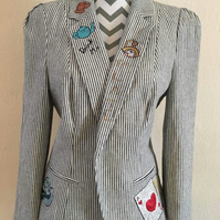 Free Motion Embroidery Alice in Wonderland Themed Upcycled Jacket Ladies Size 14