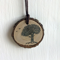 Wild Cherry Wood Slice Pendant or Decoration