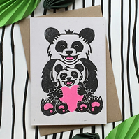 Mother's Day Card Panda & Cub. Hand Made & Printed Linocut Greetings Card