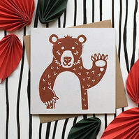 Orson the Bear. Hand printed linocut blank Greetings Card for all occasions