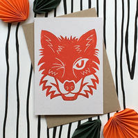 Kenzie the Fox. Eco Friendly Hand Printed Linocut Greetings Card.